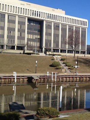 The Macomb County Circuit Court is pictured near the Clinton River in March 2014.