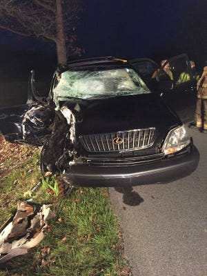 The single vehicle involved in a fatal crash in Swatara Township Sunday, April 2. A Lebanon man was pronounced dead on scene, and another man was transported to Hershey Medical Center in critical condition. Two other occupants left the scene of the crash, but were later apprehended by state police.