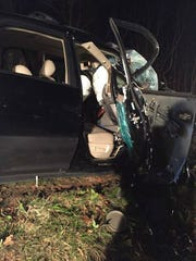 The single vehicle involved in a fatal crash in Swatara Township Sunday, April 2. The passenger's side of the vehicle struck a large tree killing the front seat passenger. The passenger in the rear seat on the same side of the vehicle was transported to Hershey Medical Center in critical condition.