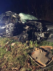 The single vehicle involved in a fatal crash in Swatara Township Sunday, April 2. One passenger was killed and another transported to Hershey Medical Center in critical condition. The circumstances of the crash are still under investigation by state police.