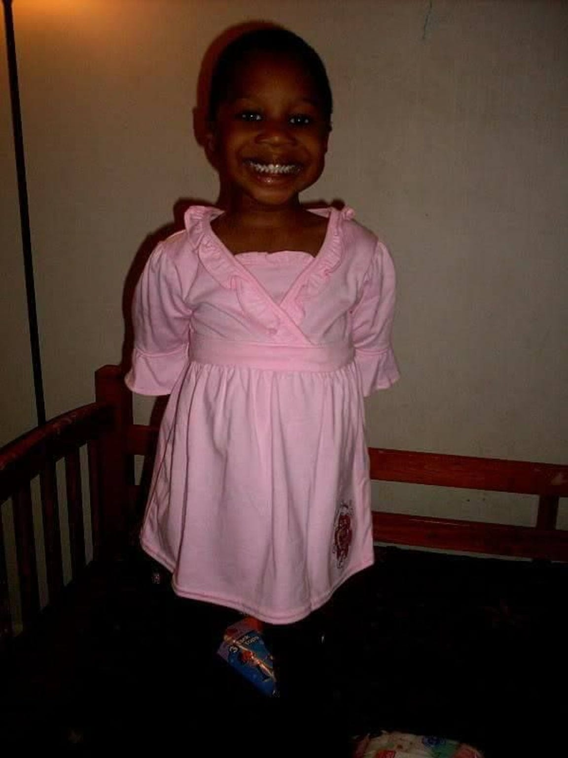 "Four-year-old Trinity Neal tries on the pink ""My Little"