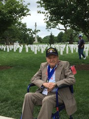 Lou Capone Sr. of Yonkers at Arlington National Cemetery during Hudson Valley Honor Flight trip, May 20, 2017.