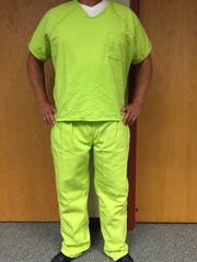 New lime green uniforms at the Stearns County Jail go to restrictive-housing male inmates with limited privileges.