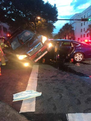 A three-car crash at Gaines and Duval streets blocked traffic for several hours Friday night. A family member of the woman driving the Subaru that was tipped said she was taken to TMH and is in stable condition.