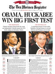 Page 1A of the Des Moines Register on Jan. 4, 2008, the day after Barack Obama and Mike Huckabee won the Iowa caucuses.