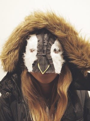 Participants in the Jan. 20 Family Art Day at Peninsula School of Art can make emperor penguin chick masks, such as the one seen here. The event recognizes the international celebration of Penguin Awareness Day on the same day.