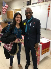 Left to right: SCVTHS student and head of the Doctors Without Borders Club Mira Amin of Bridgewater meets with Dr. William Daley.