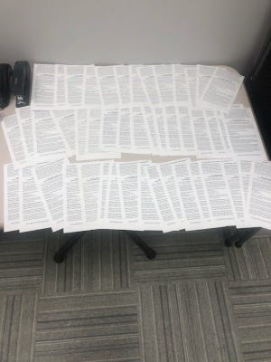 A stack of parking tickets written during the first day of MTSU's fall semester.
