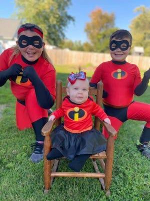 The Incredibles! Front: Oaklynn Hughes, 6 months; back: Aubrey Hughes, 10 and Gavin Hughes, 6.