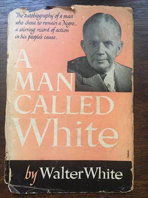 """Cover of a well-read """"A Man Called White"""" by Walter White."""