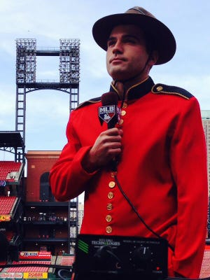 Joey Votto dressed as a mountie for the MLB Network on Tuesday