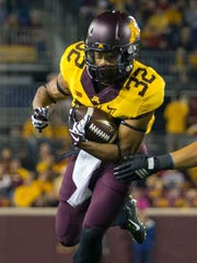 Former Michigan RB Berkley Edwards, shown here with Minnesota, will take part in the Lions' local workout day as a WR.