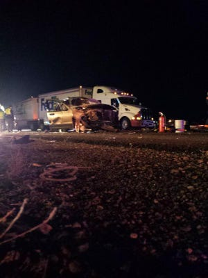 Two people were killed in a crash on I-25 near Johnstown  on Monday.