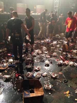 Shockfest aftermath: Diet Faygo bottles and soda puddles everywhere.