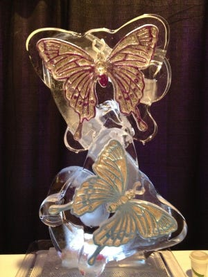 Butterfly design carved in ice.