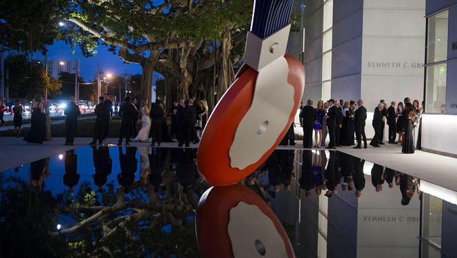 The Typewriter Eraser, Scale X, 1999,  by Claes Oldenburg and Coosje van Bruggen welcomes  guests of the Norton Museum of Art  Grand Opening Gala in West Palm Beach Saturday February 2, 2019.