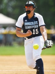 Ramsey vs. Immaculate Conception in the Bergen County Softball Tournament semifinals at Pascack Hills High School on Saturday, May 26, 2018. IC #15 Caylee English.