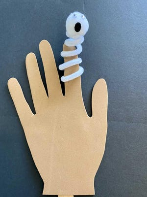 Families can pick up a kit to make a Ghost Finger Puppet beginning Monday, Oct. 19  through Friday, Oct. 23 or until they are gone, whichever happens first, during library hours.