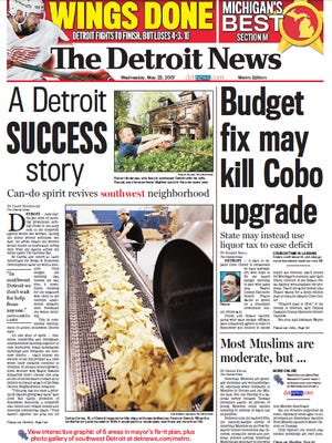 The front page of The Detroit News on May 23, 2007.