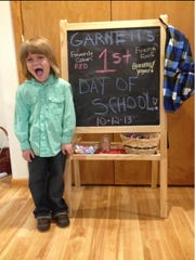 Garnett Spears started school in October at Green Meadow Waldorf School in Chestnut Ridge, associated with the Fellowship Community. Lacey Spears posted this first-day-of-school photo.