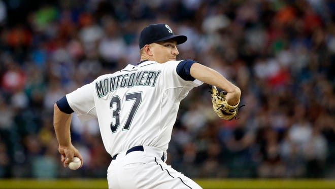 Seattle Mariners starting pitcher Mike Montgomery in action against the San Francisco Giants in a baseball game Thursday, June 18, 2015, in Seattle.