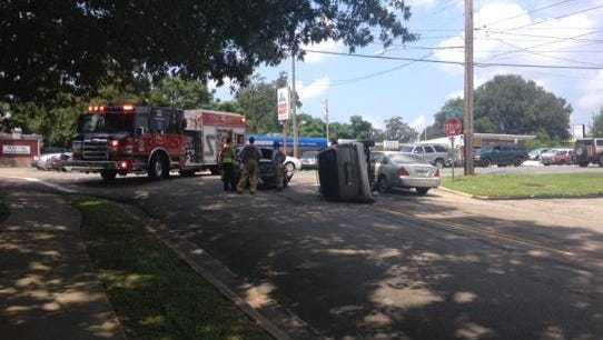 Traffic is slowed on Magnolia Drive after a three-car wreck Tuesday