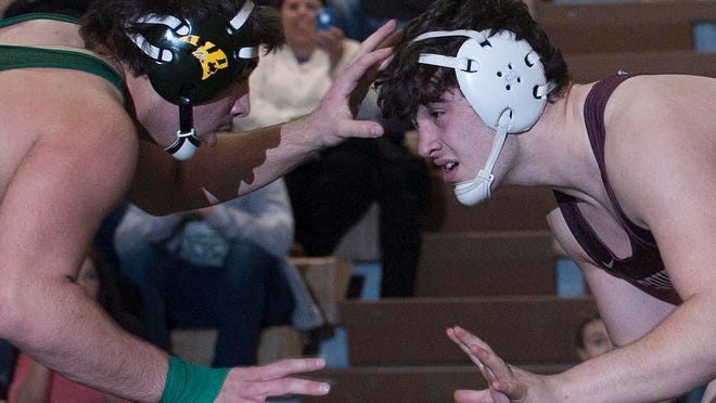 Clearview Vito Nucci left, wrestles against Toms River South Michael Rutter during the 285 lbmatch in the Sectional Finals at Clearview High School.