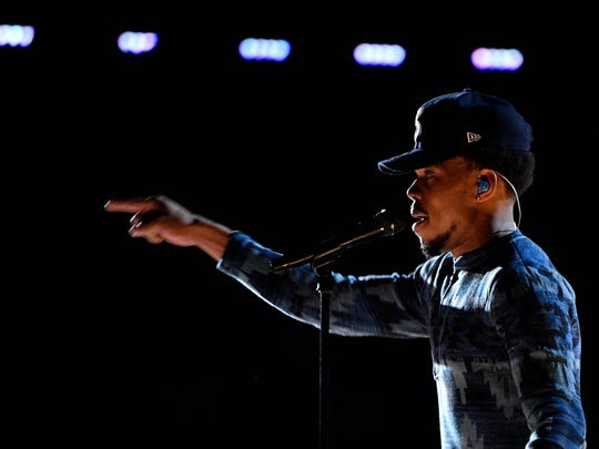 Chance the Rapper performs during the 59th Annual Grammy Awards at Staples Center.