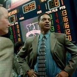 Former Wolf Pack coach Trent Johnson stands in Lawlor Events Center on March 8, 1999, the day he was introduced as Nevada's head basketball coach.