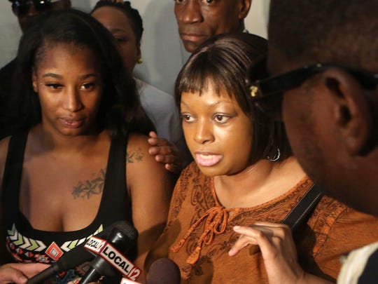 Terina Allen, sister of Samuel DeBose, speaks to media  after Ray Tensing's arraignment at the Hamilton County Courthouse on July 30. Tensing pleaded not guilty to the murder of Samuel DuBose, who was fatally shot during a routine traffic stop on July 19 and was issued a $1 million dollar bond.