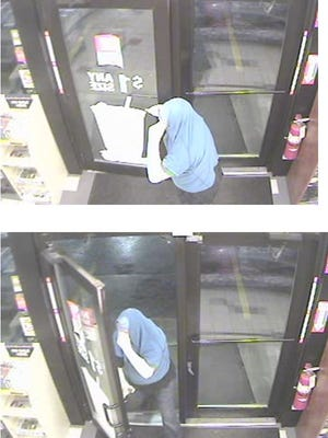 Security camera images of an armed robber suspect at a Kum & Go at 2801 East 13th Street in Ames early Thursday morning.