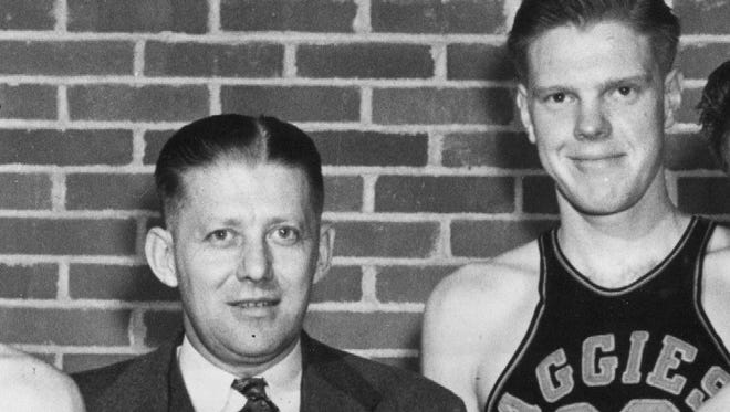 Bob Kurland, right, and coach Henry Iba in 1945 at what was then Oklahoma A&M.