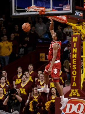 Indiana Hoosiers forward Justin Smith (3) dunks the ball in the second half against the Minnesota Gophers at Williams Arena.