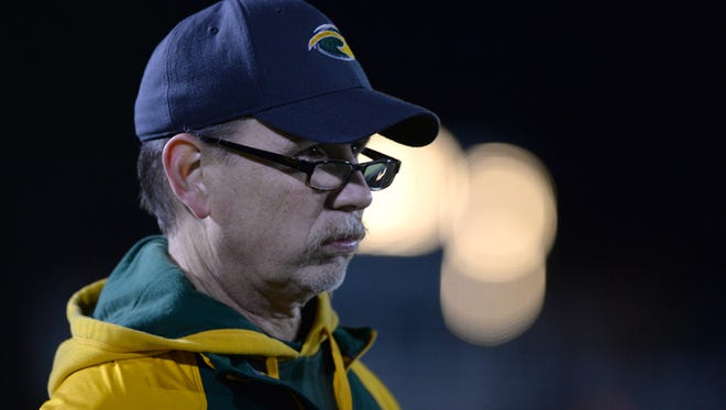 Northeastern football coach Mike Roeder reacts while watching a sectional football game against Eastern Hancock in Fountain City Friday, Nov. 7, 2014.