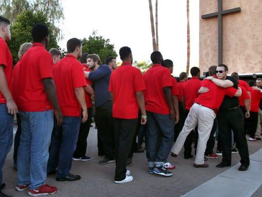 Arizona Wildcats gathered at a service for Zach Hemmila