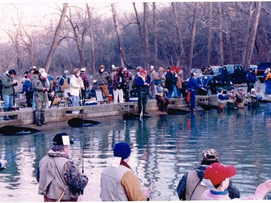 The usual scene on opening day of the trout season