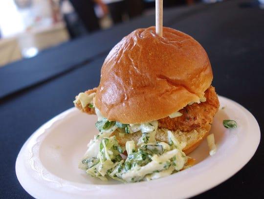 Crispy chicken sandwich with Collins' slaw, buttermilk,