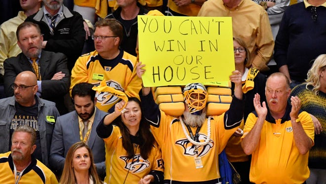 Fans cheer for the Predators during the third period of Game 4 at Bridgestone Arena on Tuesday, May 2, 2017.