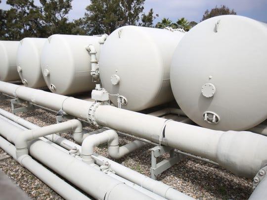 Water tanks at the desalination plant on Monday, April 13, 2015 in Santa Barbara, Calif.