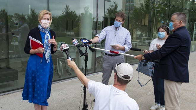 Dr. Deborah Birx, the coordinator of the White House's coronavirus task force, meets with local media Saturday, Aug. 15, 2020, at the University of Kansas Medical Center in Kansas City, Kan., to talk about ways to prevent the spread of the coronavirus in the area.