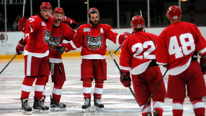 Members of the Port Huron Prowlers gather after scoring a goal Sunday, Nov. 8, during a Federal League Hockey game at McMorran Arena.