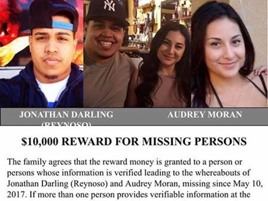 Loved ones are dispersing this flier seeking information on the whereabouts of Jonathan Reynoso and Audrey Moran.
