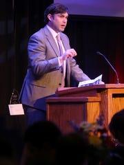 Jackson Chamber Chairman Ben Ferguson speaks during the Jackson Chamber's Annual Celebration on Thursday at Union University's Carl Grant Events Center.