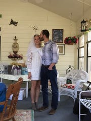 Megan Alexander, 29, and Brett Greenhill, 39, celebrate their joint bachelor-bachelorette party at the Lely home of Alexander's mother. Greenhill was paralyzed from the neck down after diving head first into the water, possibly hitting a sandbar, during a visit to the beach. The couple were in Naples celebrating their joint bachelor-bachelorette parties.