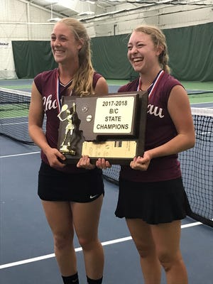 Choteau's Michaela Gunderson (left) and Christine Funk, the only two Bulldogs to qualify for the tournament, single-handedly won the Class B-C State tennis team  championship last weekend.