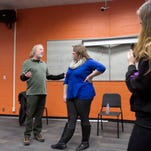 Professional actor, director and producer Timothy Busfield talks about the structure of three-act storytelling to a creative writing class at Brighton High School.