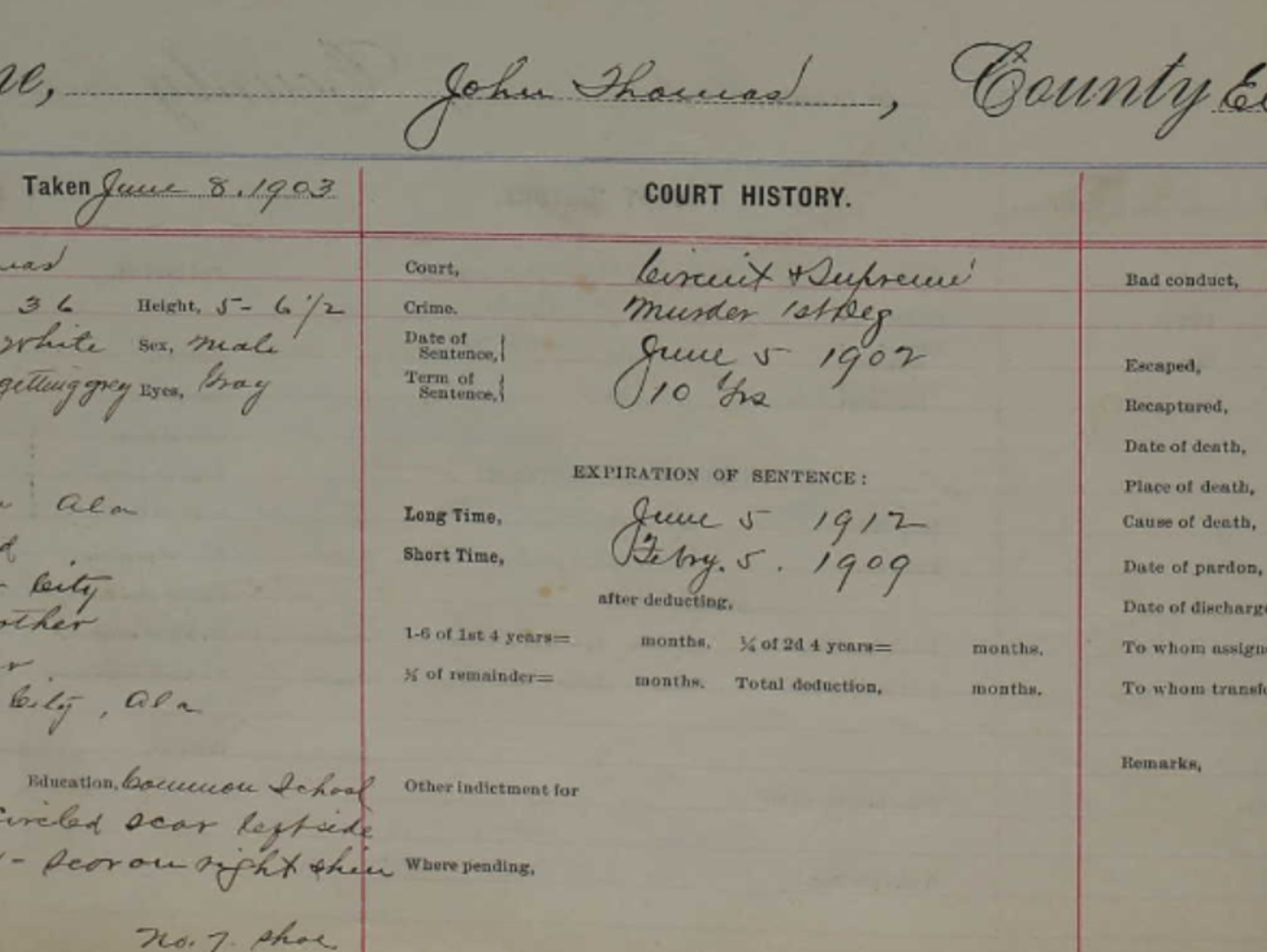 The convict file for John Thomas, recording his intake in June 1902.