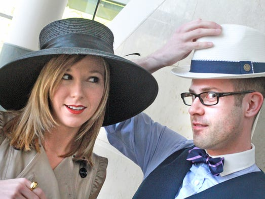 Leah Yancy and Matthew Allen represented Burberry design house at the Fashion Arts Society event Thursday at the Indianapolis Museum of Art.