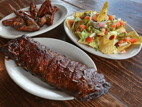 Barbecue ribs and wings, and nachos are on the menu