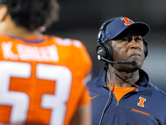 FILE - In this Sept. 29, 2017, file photo, Illinois coach Lovie Smith watches from the sideline during the second half of the team's NCAA college football game against Nebraska, in Champaign, Ill. Illinois started off the season with a pair of home victories and then things went sour as the Illini lost their next 10 games and finished the year as the only team in the Big Ten without a conference victory. (AP Photo/Stephen Haas, File)